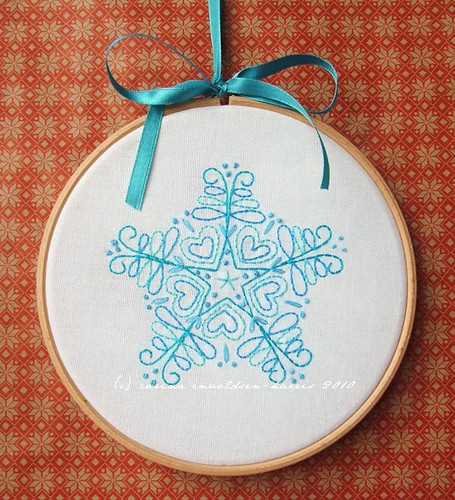 Christmas Stitches class - hooped snowflake