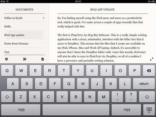 iPad Screenshot - PlainText