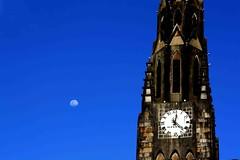 A Lua e a Igreja. (Nay Hoffmann) Tags: rio de grande do igreja lua sul canela senhora lourdes relogio nossa