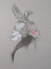 The Masks We Wear (freshsami) Tags: rabbit bunny girl mask drawing ears gouache graphitepencil
