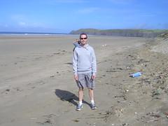 Me on Perran Beach (southglosguy1982) Tags: sea sky beach me sunglasses coast hoodie sand jon cornwall dad trainers binoculars shorts atlanticocean perranbeach