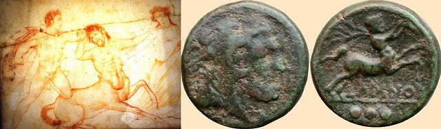 Larinum 2nd century BC coin of Greek style under Roman rule with a Centaur, and Centaur with Hercules and Deianira, fresco from Pomepeii