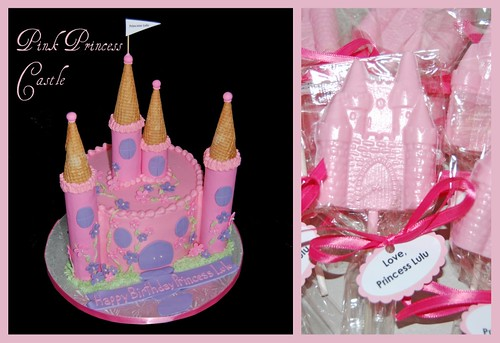 Pink Princess Castle Cake and Chocolate Favors