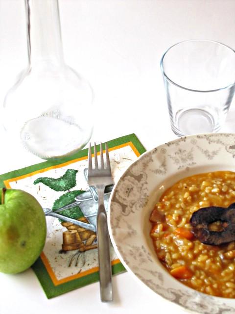 Risotto con Zucca al Forno e Chips di Mela
