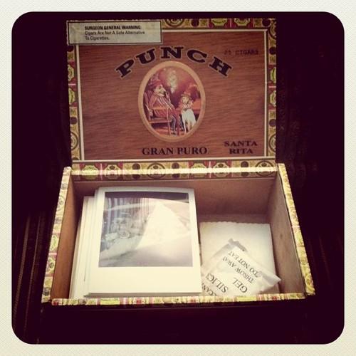 Polaroid/cigar box