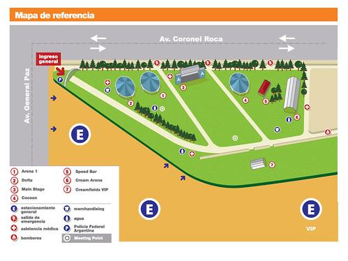 distribucion de los escenarios Creamfields Buenos Aires 2010
