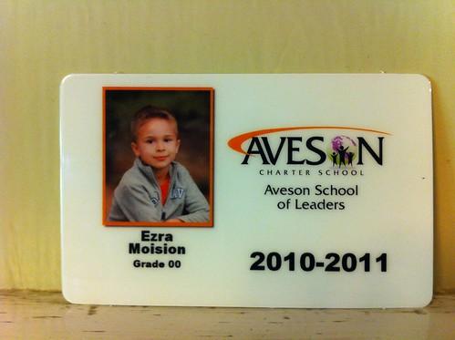 Ezra's Kindergarten ID card