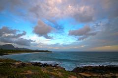 Kauai Grand Hyatt Beach Sunset (topendsteve) Tags: ocean sunset beach water hawaii day cloudy waterfalls kauai waimea helicopters napali keebeach hawaiianislands gardenisle