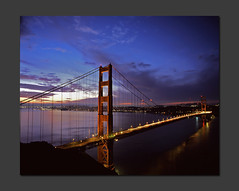 Pre-Dawn Golden Gate (RZ68) Tags: sanfrancisco city morning bridge blue light sunset cars skyline night mediumformat reflections dawn lights golden gate san francisco long exposure trails first velvia goldengatebridge hour goldengate 6x7 streaks provia daybreak ggb e100 rz68