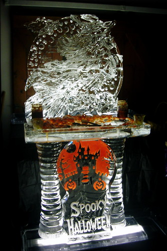 Halloween Seafood Display ice sculpture