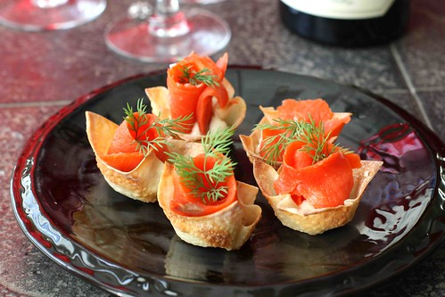 Smoked Salmon & Horseradish Mascarpone in Wonton Cups Recipe ...