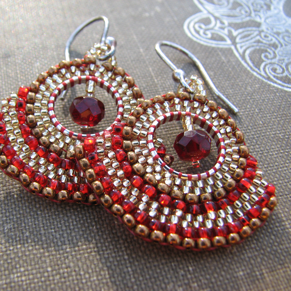 Crimson Gold Fan Earrings