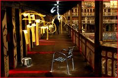 Illuminated Corridor (Chrixcel) Tags: fish lightpainting graffiti chair tag tags swimmingpool chaise molitor piscine jadikan