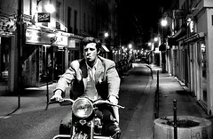 smooth ride (horlo) Tags: street wallpaper blackandwhite bw cinema france film monochrome bike night french lights cool europe lyon noiretblanc nb jeunesse motorbike moto movies relaxed rue nuit croixrousse godard breathless nouvellevague belmondo fonddcran aboutdesouffle insouciance blackwhitephotos