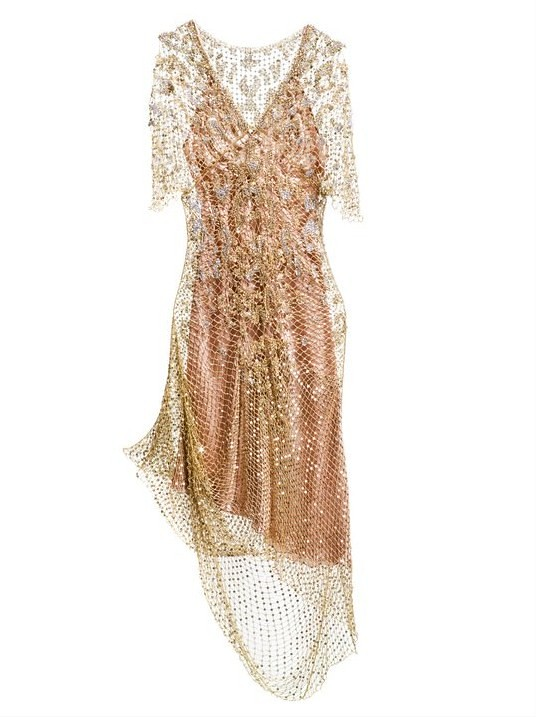 03 Roberto Cavalli Mantle dress with a golden net embroidery