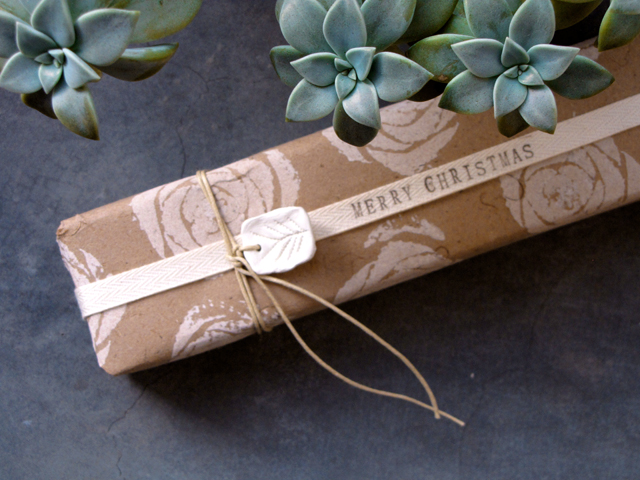 Celery stamped wrapping paper.