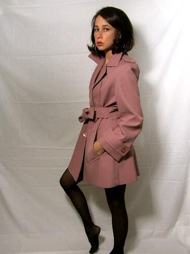 vintage mauve trenchcoat