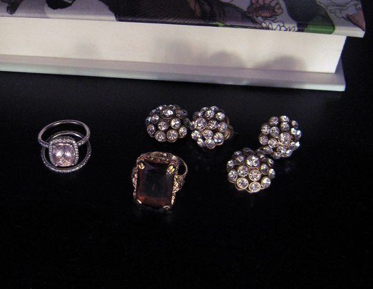 jewels+cynthia wolff rings+vintage ring+nichole miller rhinestone earrings