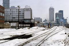 D&H Adirondack WindsorSta Montreal Que 1977 (ironmike9) Tags: track rail rr railroad railway dh delawarehudsonrwy montrealquebec passenger train station windsorstation adirondack city skyline alco pa locomotive