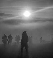 Morning Star Mist (whitehart1882) Tags: achievement fun pleasure outside group nature travel beautiful glowing orange sunrise hazy trekking climbing silhouettes people haze fog mist