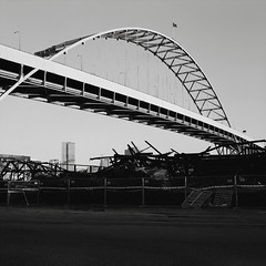 After a Fire, Fremont Bridge, Portland (austin granger) Tags: portland fremontbridge oregon fire evidence destruction charred ruin film gf670