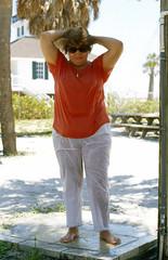 Boca rinse, 2000 (clarkfred33) Tags: bocagrande florida shower rinse swimwear redandwhite travel wetadventure wetfun wetlook wetclothes 2000 lighthouse swim ocean scenic enjoy outdoor whitepants wetpants floridafun