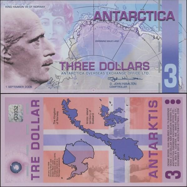 3 Doláre Antarktída 1.9. 2008 polymer