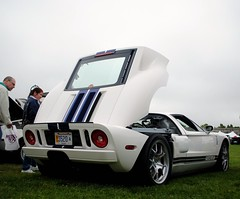 Ford GT. (Andrew Waddell Photography) Tags: auto show camera blue white ford sports car nikon automobile shot angle stripes low rear engine exotic american newport production gt dslr limited concours supercar picnik musclecar 2010 hypercar d3000 newportconcours2010