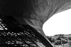 Hyperbolic Paraboloid (Luck-y) Tags: blackandwhite bw architecture germany munich mnchen deutschland noiretblanc nb allemagne olympiapark coophimmelblau paraboloid bmwwelt
