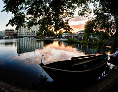The Dam (dai oni) Tags: trees sunset water netherlands amsterdam boat canal nikon shadows sigma fisheye 15mm d700