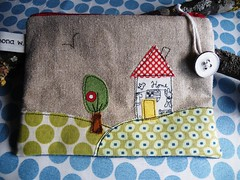 The cozy house (monaw2008) Tags: house tree bird handmade linen embroidery story jeans fabric pouch applique reused machinestitching recyceled monaw monaw2008 curderoy upcyceled