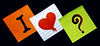 I <3 ? (harp92) Tags: new white black color colour cute green love colors book colorful colours heart notes squares creative romance note papers luv unknown romantic lovely 2010 onblack colourfull i3u ogange quetion harp92