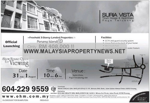 Suria Vista Town House & Apartment For Sale, Paya Terubong Penang