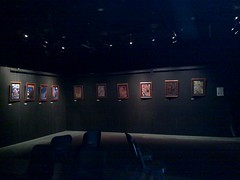 Exhibition setup at 1812 Theatre - Donna's paintings