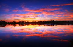 [フリー画像] 自然・風景, 夕日・夕焼け・日没, 湖・池, アメリカ合衆国, 201009021500