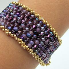 amethyst purple cuff bracelet with gold beaded rope trim (mrsbaubles) Tags: classic purple handmade contemporary jewelry bracelet bead handcrafted amethyst cuff beaded beadwork craf beadweaving