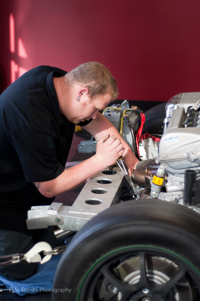 Gary Rayevich working on Radium Engineering's Turbo Lotus Elise