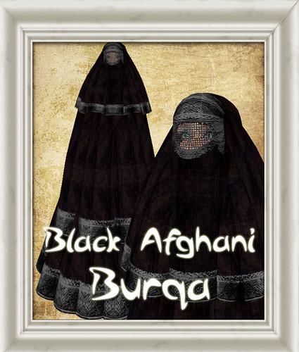 Shabby Chic Black Afghani Burqa Burka