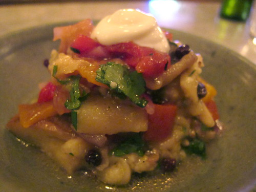 Smoked eggplant, tomato, roast peppers, pinenuts and currants