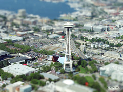 "Seattle Center - ""mini"" (CORDAN) Tags: seattle cars spaceneedle emp seattlecenter tiltshift kenmoreair fakemini faketiltshift faketilt canons3is modeleffect cordan flickrgolfclub 3seattlecenter"
