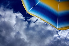 Tre colori (Lollinuz) Tags: blue sea summer vacation sky italy cloud sunlight white holiday art beach sunshine yellow clouds umbrella canon nuvole mare nuvola estate blu deep sunshade giallo lorenzo parasol cielo sole bianco luce vacanza brillante signorelli parasole ombrellone 450d