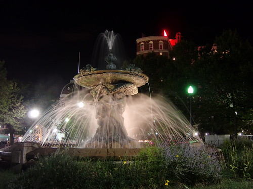 Burnside Park Fountain in front of City Hall and the Biltmore