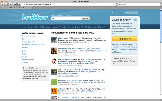 Captura de pantalla: resultados de búsqueda de #UX en la web de Twitter