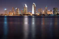 San Diego Skyline (Trent Bell) Tags: california city urban reflection skyline lights cityscape sandiego citylights coronado 2010 longecposure sandiegocityscape