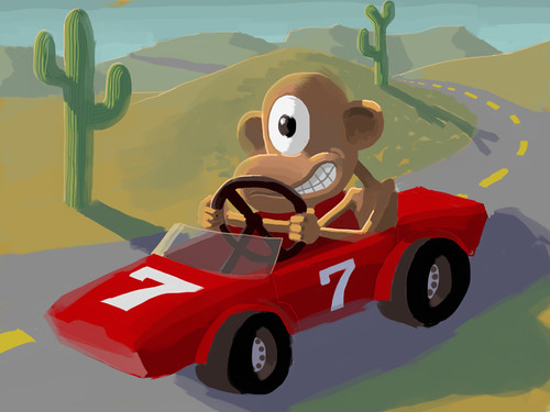 Monkey Sports Car - Bruce Heavin  All Rights Reserved