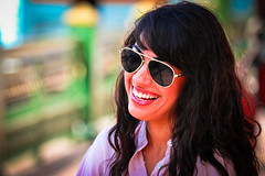 Colorful Kiran (modenadude) Tags: portrait woman black hot girl beautiful smile canon hair glasses saturated colorful downtown pretty day open bokeh citadel indian teeth muslim uae eid sunny shades cairo telephoto shade laugh pakistani usc ramadan medusa f4 70200mm tahrir 550d t2i kiranalvi
