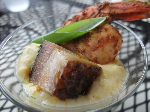 Grits with Spicy Shrimp & Pork Belly