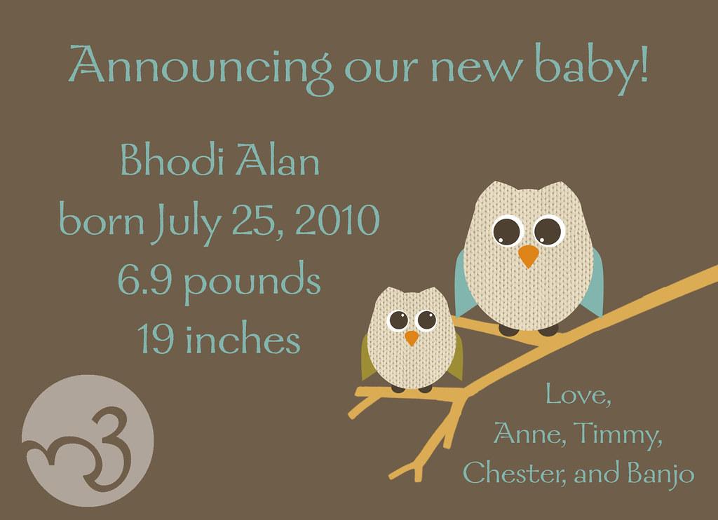 Birth Announcement, back