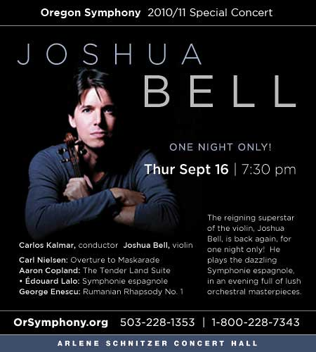 Thursday: Joshua Bell @ Arlene Schnitzer Concert Hall