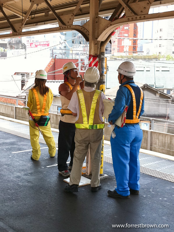 Hard at work in a JR train station